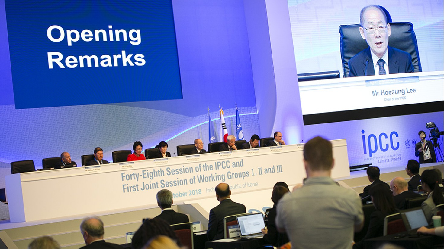Hoesung Lee, IPCC Chair, giving opening remarks. foto: IISD/ENB
